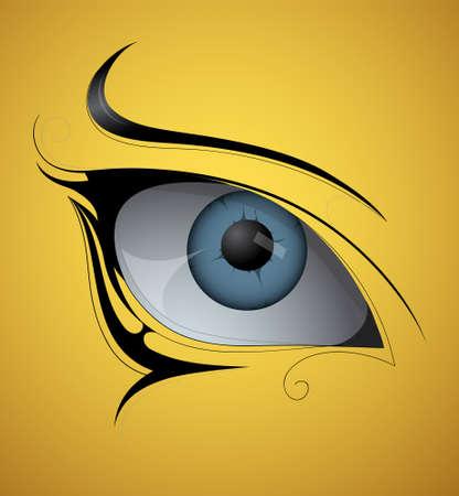 eye tattoo: Artistic female eye tattoo shape  EPS 10