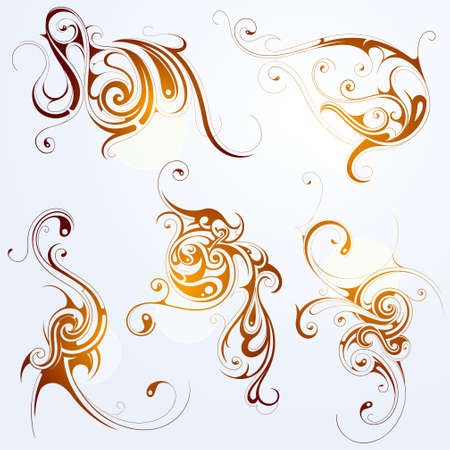 Set of various artistic shapes with floral elements Vector