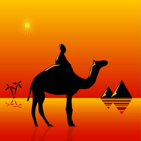 camel: Cartoon illustration for the tropical resort travel theme