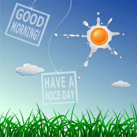 おはようございますし、良い一日を過ごす !スクランブル太陽の概念図  イラスト・ベクター素材