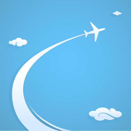 paths: Plane trail graphic design illustration with copy space
