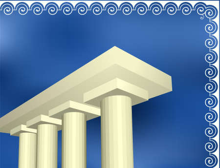 roman empire: Classical ancient Greek architecture columns with pattern Illustration
