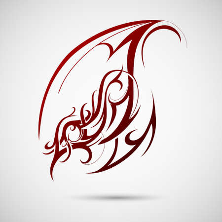 Artistic graphic design element with tribal art swirls
