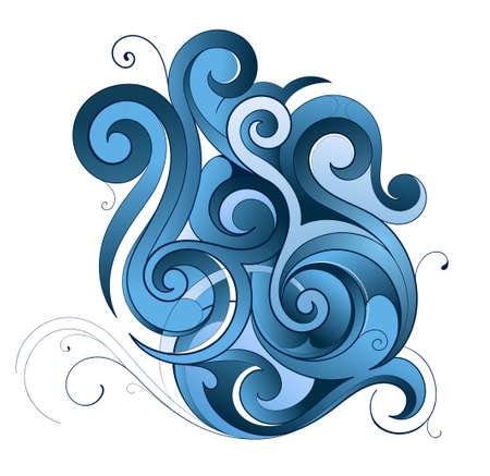Decorative water splash shape made of swirls Vector