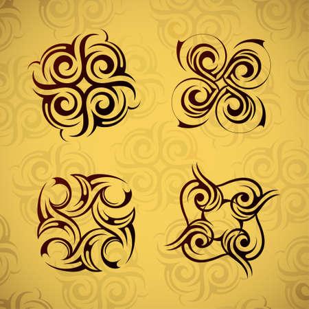 cuatro elementos: Conjunto de cuatro antiguos elementos del patrón tribales