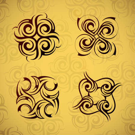 Set of four ancient tribal pattern elements Vector