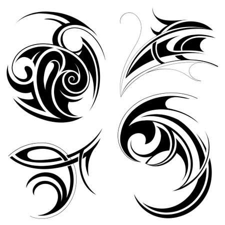 motive: Vektor-Illustration mit einem Satz von tribal art Abstraktionen Illustration