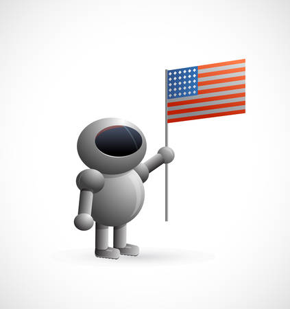 Vector illustration of the cartoon astronaut holding American flag Stock Vector - 23258675