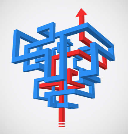 Concept of 3D maze with successfull strategy Illustration