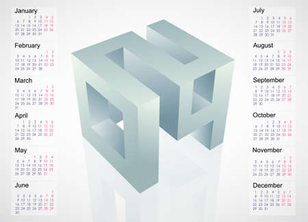 Calendar 2014 template design with month charts. EPS-10 Vector