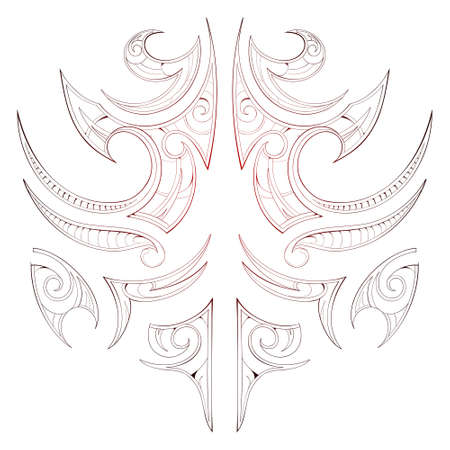 Maori tribal art tattoo isolated on white Vector