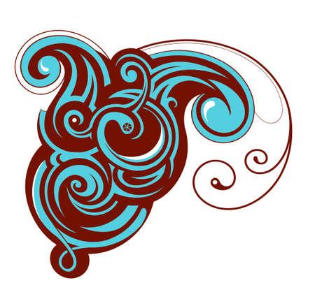 wasserwelle: K�nstlerische Design-Element isoliert - Wasserwelle Illustration