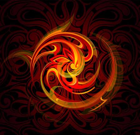 fuoco e fiamme: Illustrazione vettoriale con fiamme di fuoco decorativi. Vettoriali