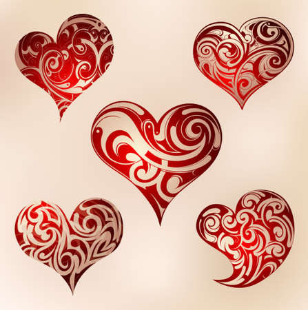 Decorative heart shape tattoo set with ornament Vector