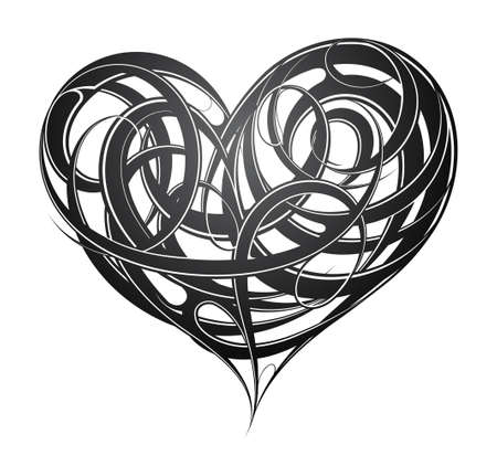 St Valentines related design including decorative heart tattoo