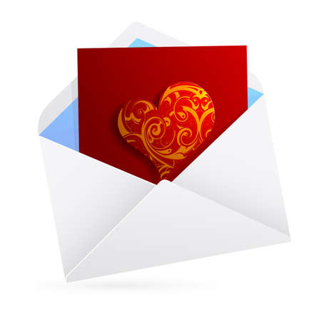 st valentines day: Love letter. St. Valentines Day related clip-art Illustration