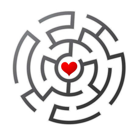 Love maze. Find the way to your heart Illustration