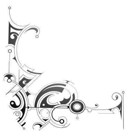 maories: Parte de marco decorativo aislado en blanco Vectores