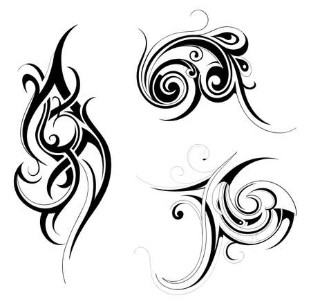 Set of various tribal art tattoo ornaments isolated on white Illustration