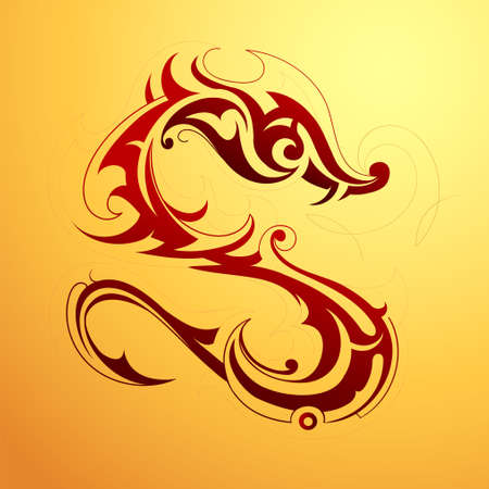 Red dragon tattoo in tribal art style Illustration