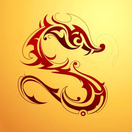 maories: Tatuaje del drag�n rojo en estilo tribal del arte