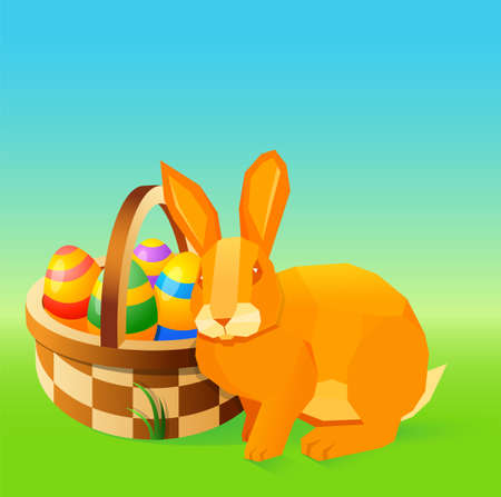 funny easter: Easter related illustration with Easter bunny and basket with decorative eggs