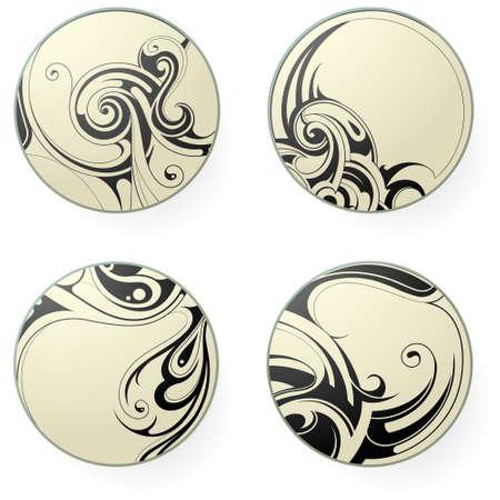 Set of round ornament tattoo shapes isolated on white Illustration