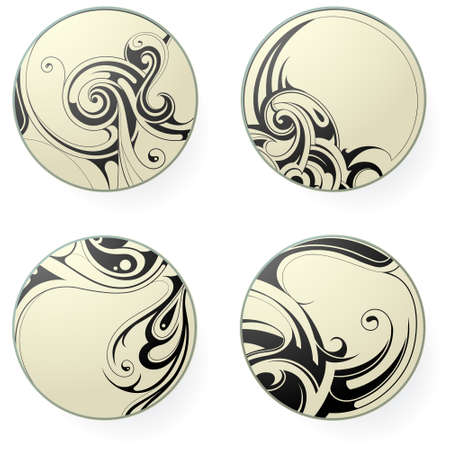 Set of round ornament tattoo shapes isolated on white Vettoriali