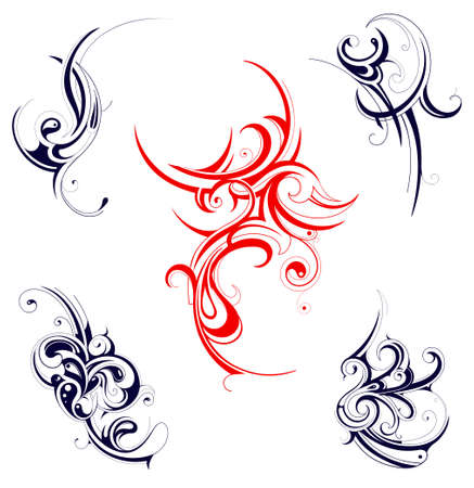 Set of various tribal ornaments isolated on white Vector
