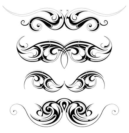 Vector illustration with set of tribal art abstractions Vector