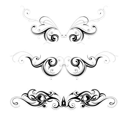 Set of various tribal art tattoo ornaments isolated on white Vector
