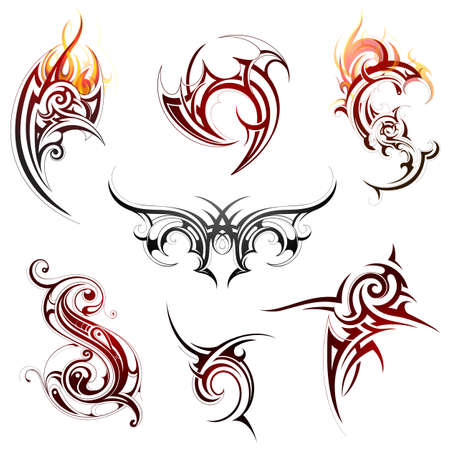 Set of various tribal art elements isolated on white