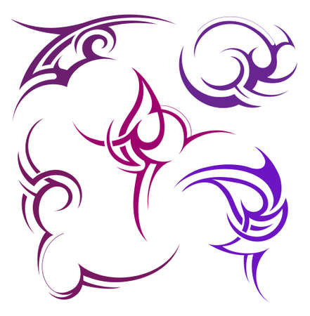 Set of various artistic shapes in tribal art style