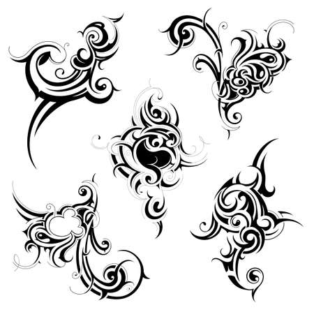 Set of various tribal decorations isolated on white Vector Illustration