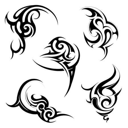 Set of tribal art elements Vettoriali