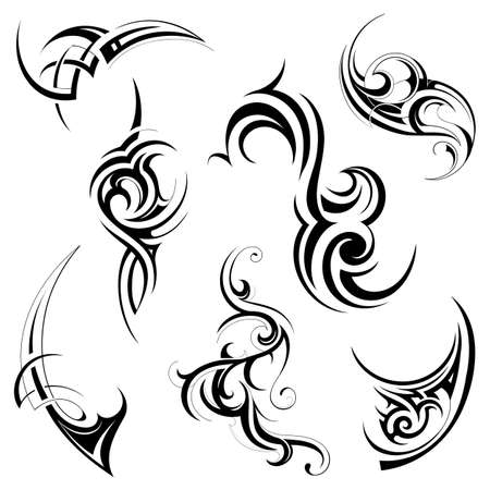 Set van verschillende tribale kunst elementen op wit wordt geïsoleerd Stock Illustratie