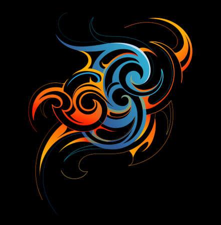 Darstellung von Wasser und Feuer-Fusion