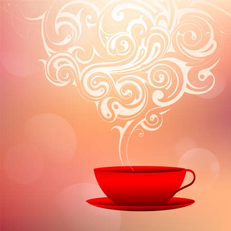 Coffee cup with decorative smoke Vector