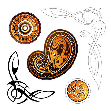 Set of various tribal ornaments around the world Vector
