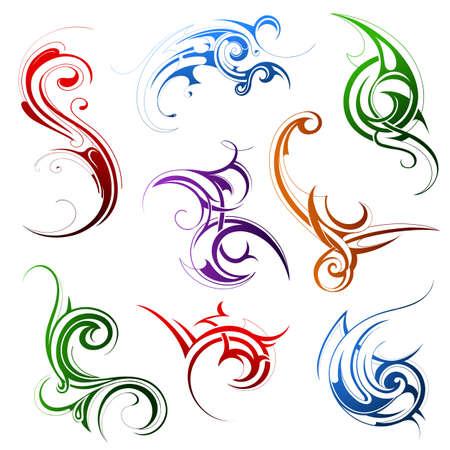 Set van verschillende tribal art elementen geïsoleerd op wit
