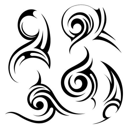 gothic style: Set of various artistic shapes in tribal art style