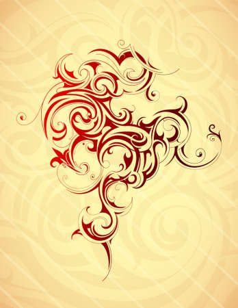 Artistic tattoo shape in orient ethnic style. Vector