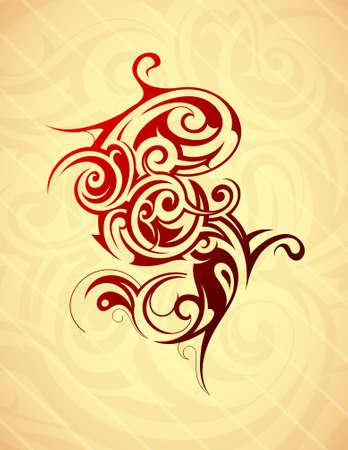 Artistic tattoo shape in tribal art style.  Vector