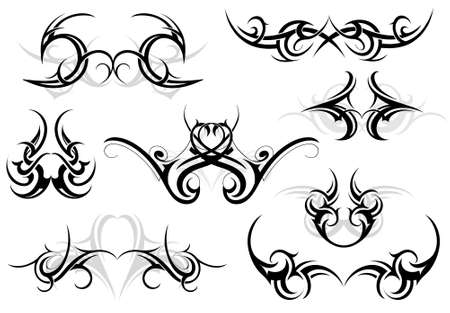 Set of various tattoo shapes with tribal art elements