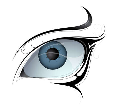Woman eye tattoo isolated on white.  Vector