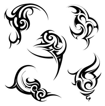 maories: Conjunto de varios ornamentos tatuaje con elementos �tnicos Vectores
