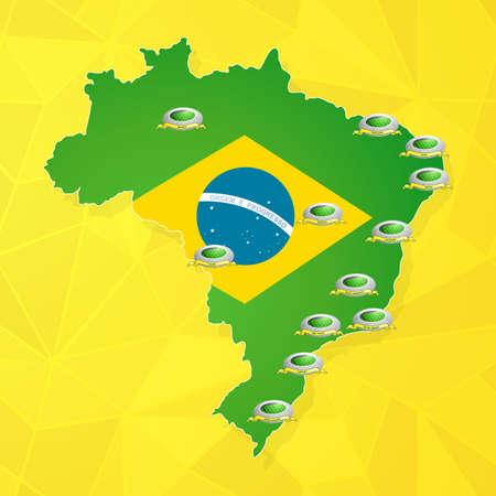 brasil: Brasil soccer championship stadiums location. EPS-10