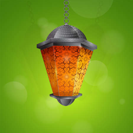 Arab lantern as traditional decoration for Islamic holy month Ramadan greeting card design. EPS-10 file Vector