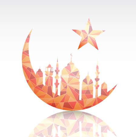 ramadan kareem: mosque with crescent moon as emblem for Ramadan.  Illustration