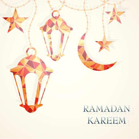 saludo: Dise�o de tarjetas de felicitaci�n de Ramad�n. Vectores
